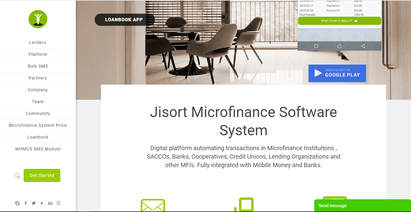 Jisort money lending software homepage