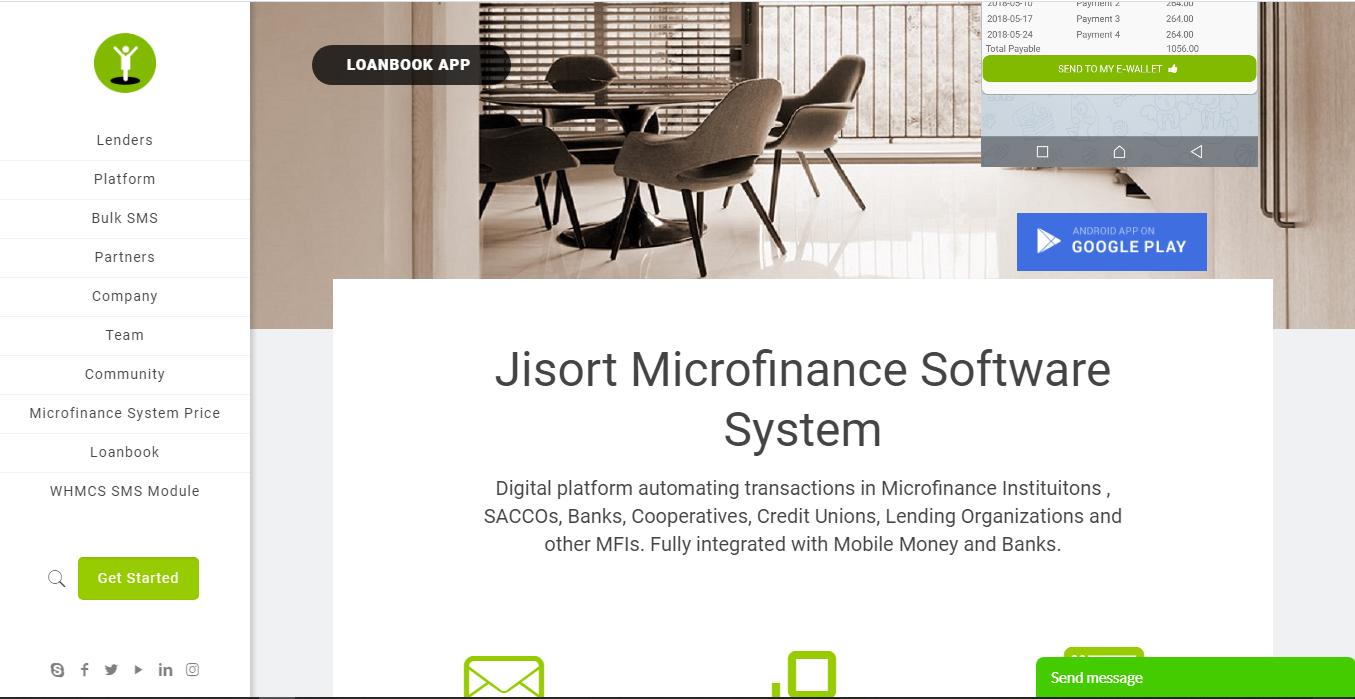 Jisort money lending software homepage