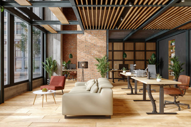 Eco-Friendly Modern Office Interior With Brick Wall, Waiting Area And Indoor Plants. Eco-Friendly Modern Office Interior With Brick Wall, Waiting Area And Indoor Plants. coworking space stock pictures, royalty-free photos & images