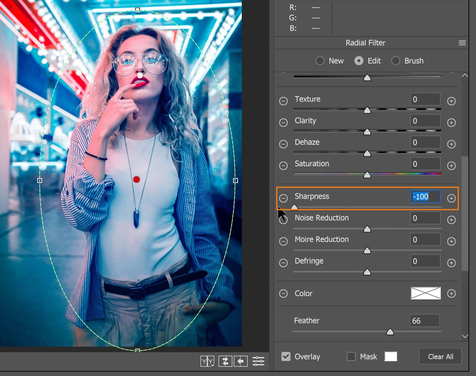 Adjust the Sharpness slider for the Neon Portrait Color Effect In Photoshop
