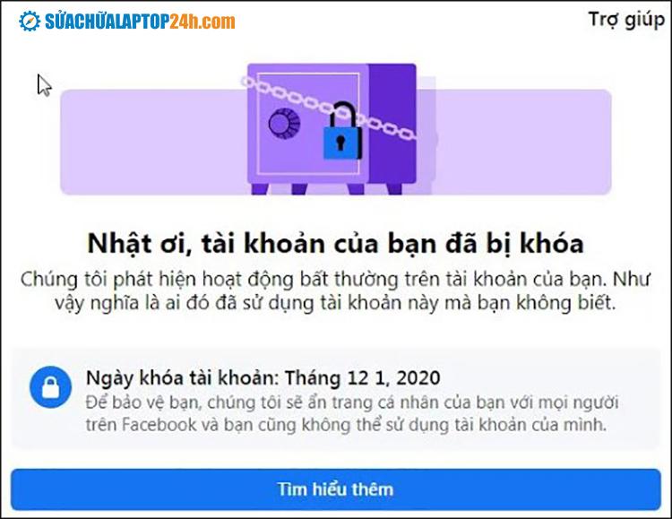 Đăng nhập và chụp ảnh màn hình phần bị lỗi để thông báo Checkpoint Facebook
