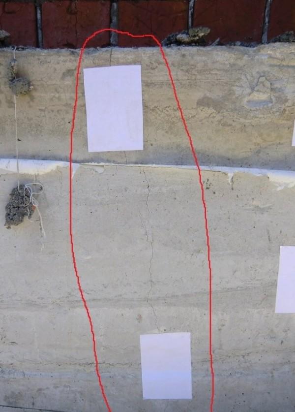 Трещины в бетонном монолите