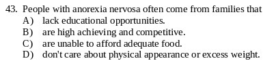 Psychology, Module 242 class - People With Anorexia Nervosa Often Come From Families That Do THIS