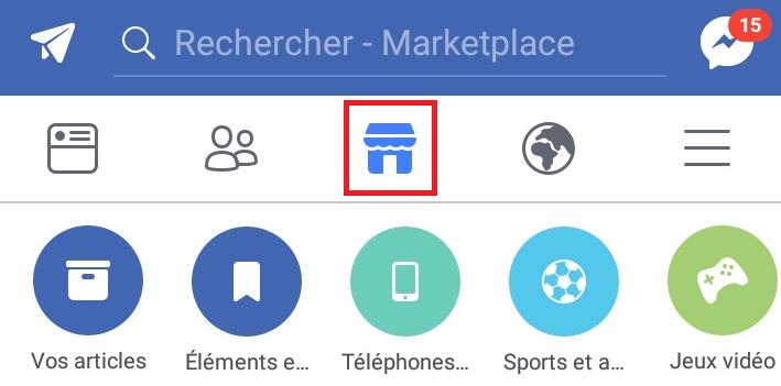 Ecran mobile application facebook marketplace