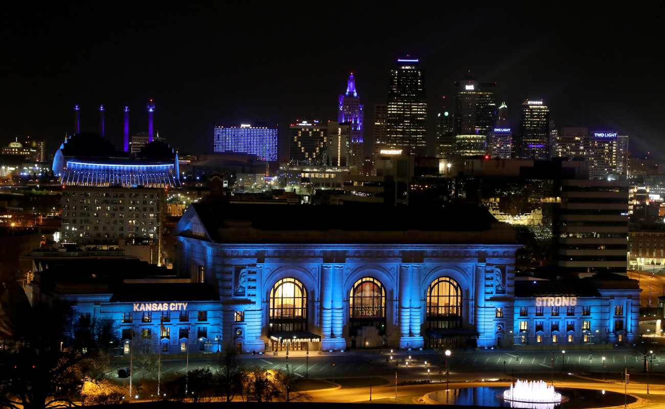 Downtown Kansas City, Missouri, in April 2020. (Photo by Jamie Squire/Getty Images)