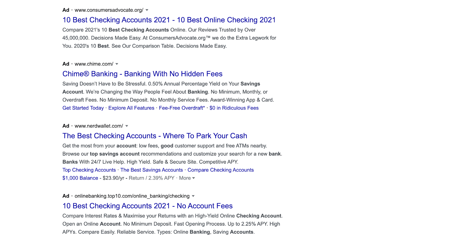 Paid Google Results for Bank Accounts