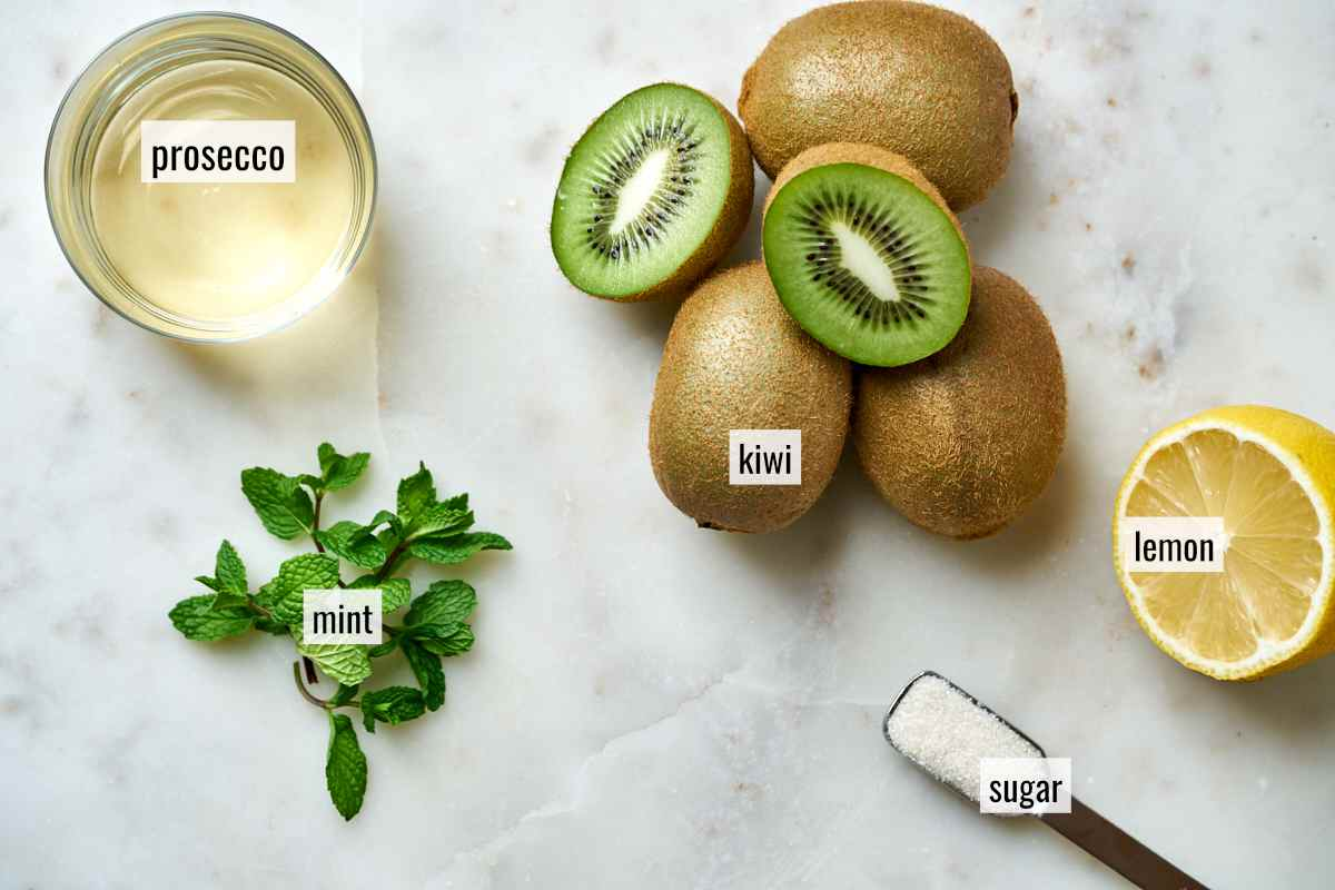 Ingredients for a kiwi cocktail.