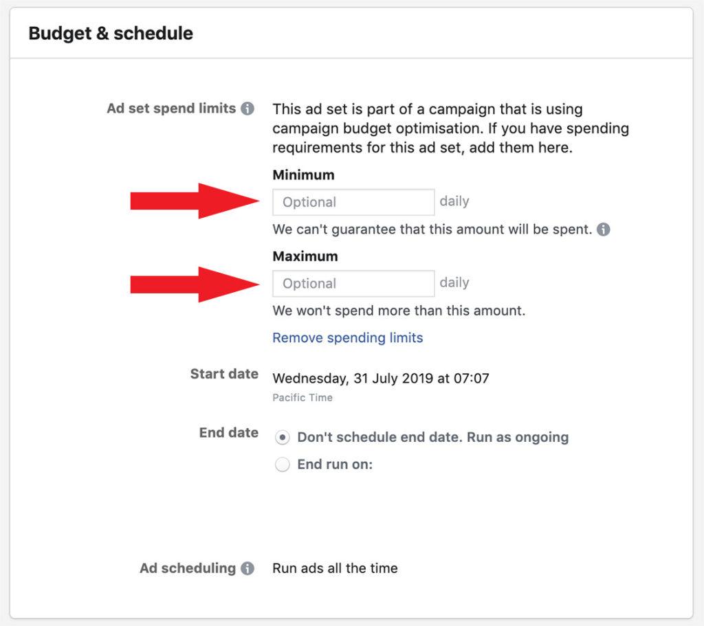 Minimum and maximum budget for campaign budget optimisation