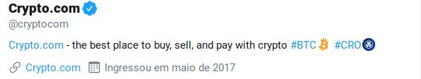 twitter crypto.com com emoji do símbolo da moeda CRO