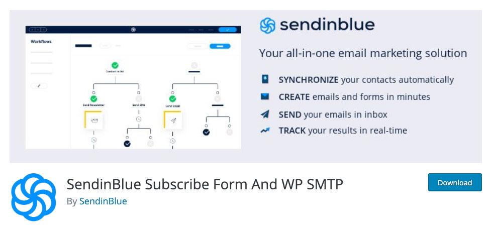 SendInBlue WordPress plugin page.