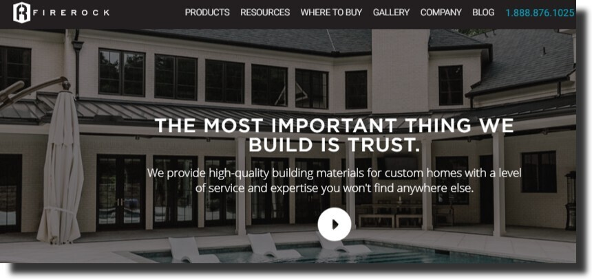 FireRock website manufacturing website design