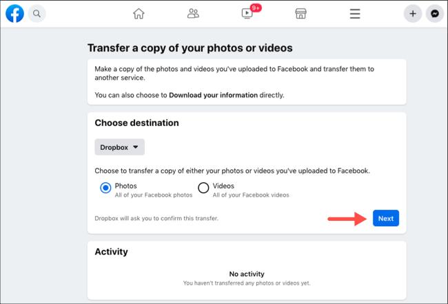 Transfer Facebook photos or videos