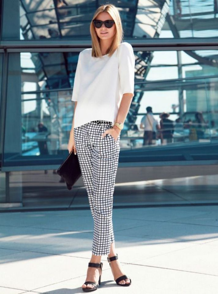 A white top, checkered pants & Black pointed heels