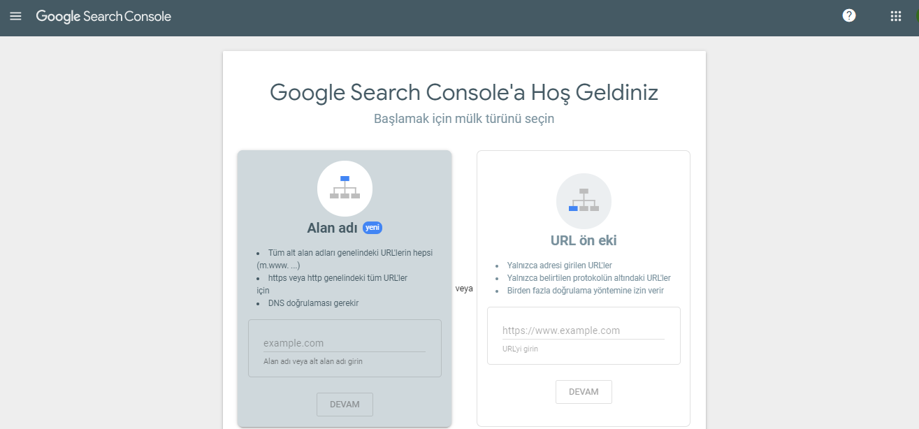 Search Console'a Site Ekleme