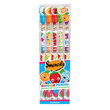 Pack of 5 Smencils with HB lead and eraser. Scents: Sour Apple, Cola, Cupcake, Jelly Bean, Rainbow Sherbet.