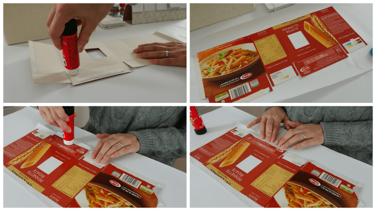 Line the inside of the boxes using white kraft paper