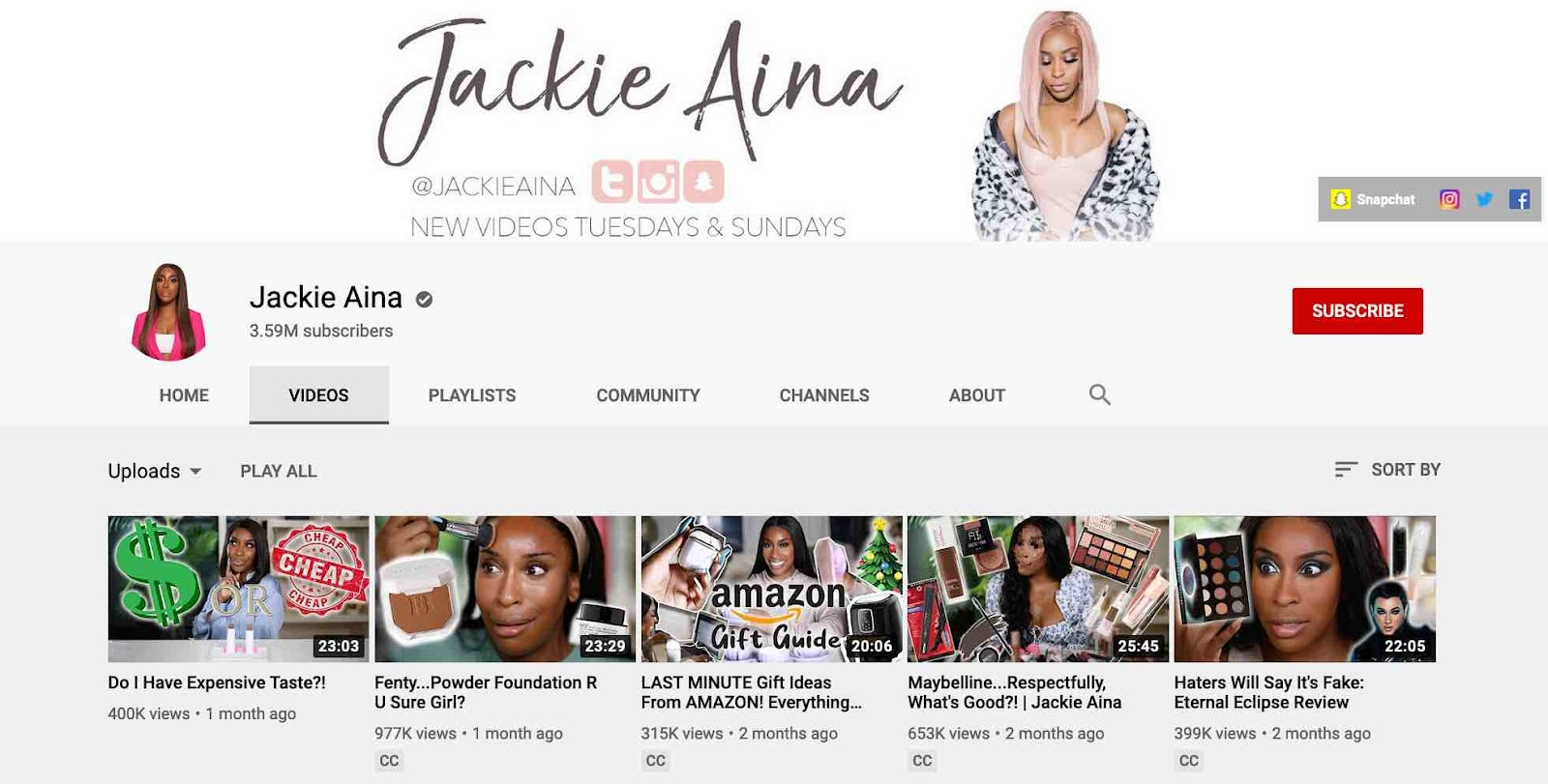 Capture of vlogger Jackie Aina's YouTube channel that focuses on beauty