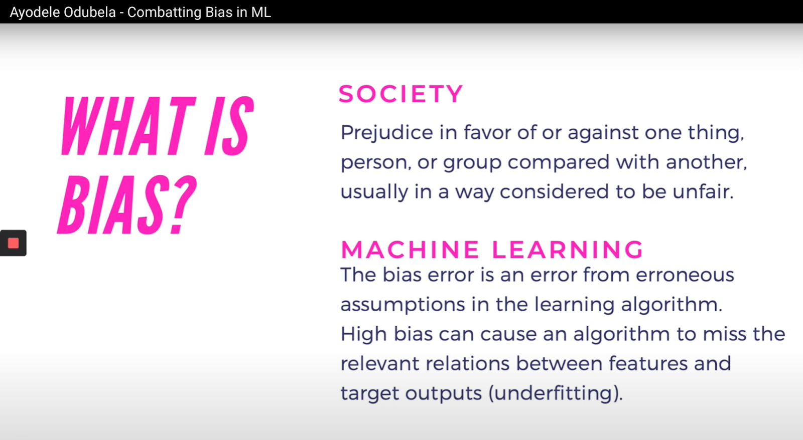 """Slide from Ayodele's """"Combating Bias in ML"""" talk, given during the 2020 Juneteenth Conference"""