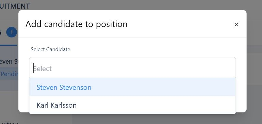 screenshot of the add candidate to position pop-up box.