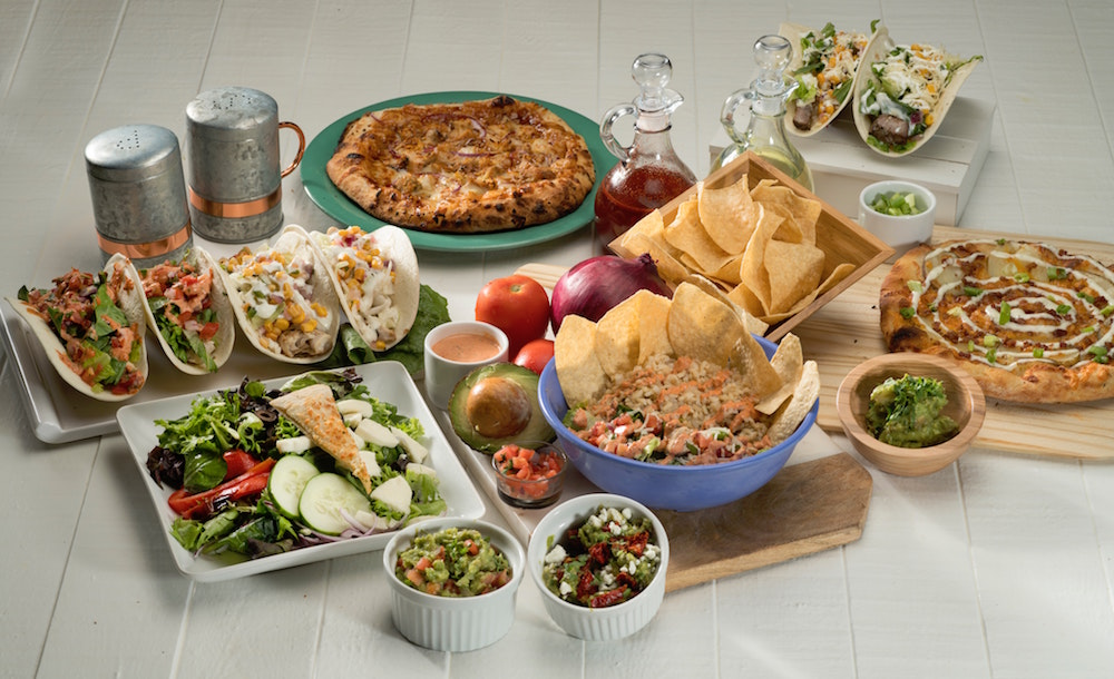 Different kinds of Mexican food on display.