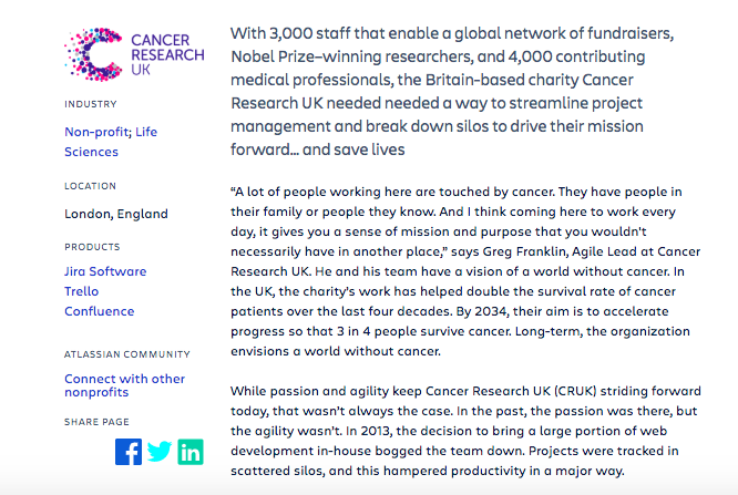 Atlassian showcases the success story of their partnership with Cancer Research UK.