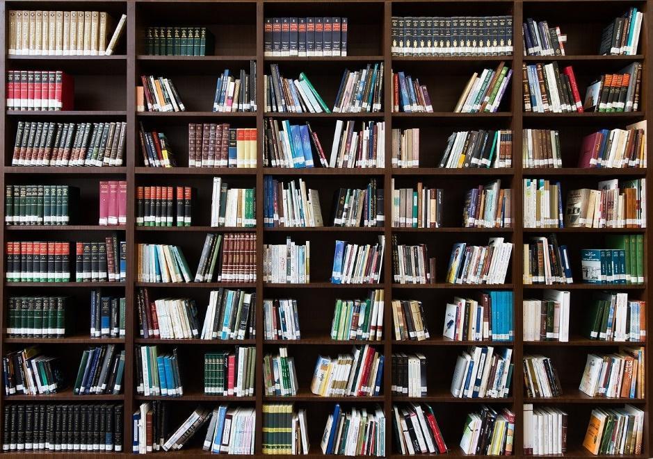 A large bookshelf.