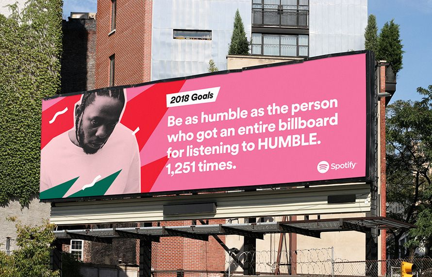 """Spotify campaign billboard, says """"2018 Goals: Be as humble as the person who got an entire billboard for listening to HUMBLE. 1,251 times."""""""