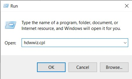 In the Open field, type in hdwwiz.cpl and press Enter key or Press Ok.