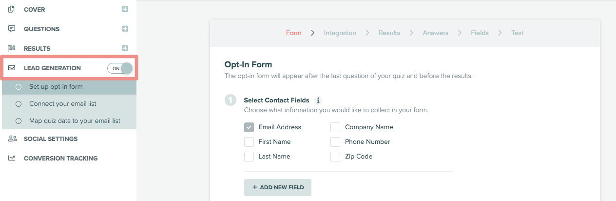 where to find lead generation form in Interact
