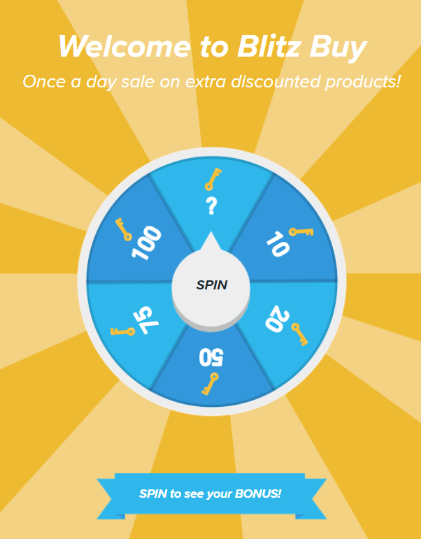 "A blue prize wheel featuring different discounts with a ""spin"" button in the middle."
