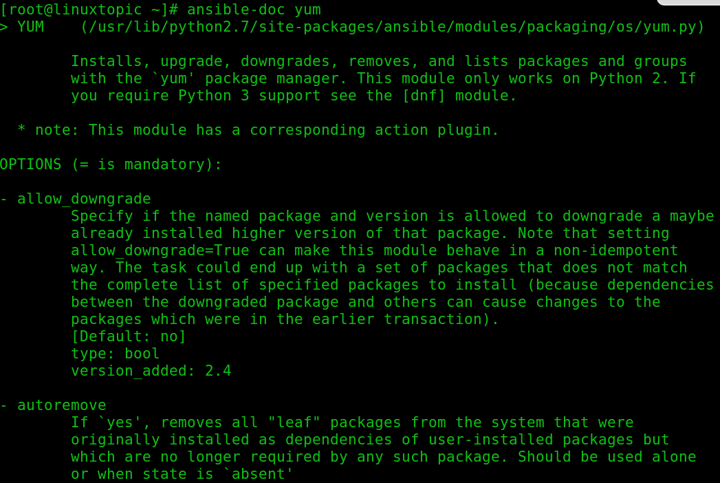 ansible module, ansible ad-hoc command, ansible yum module, ansible apt module