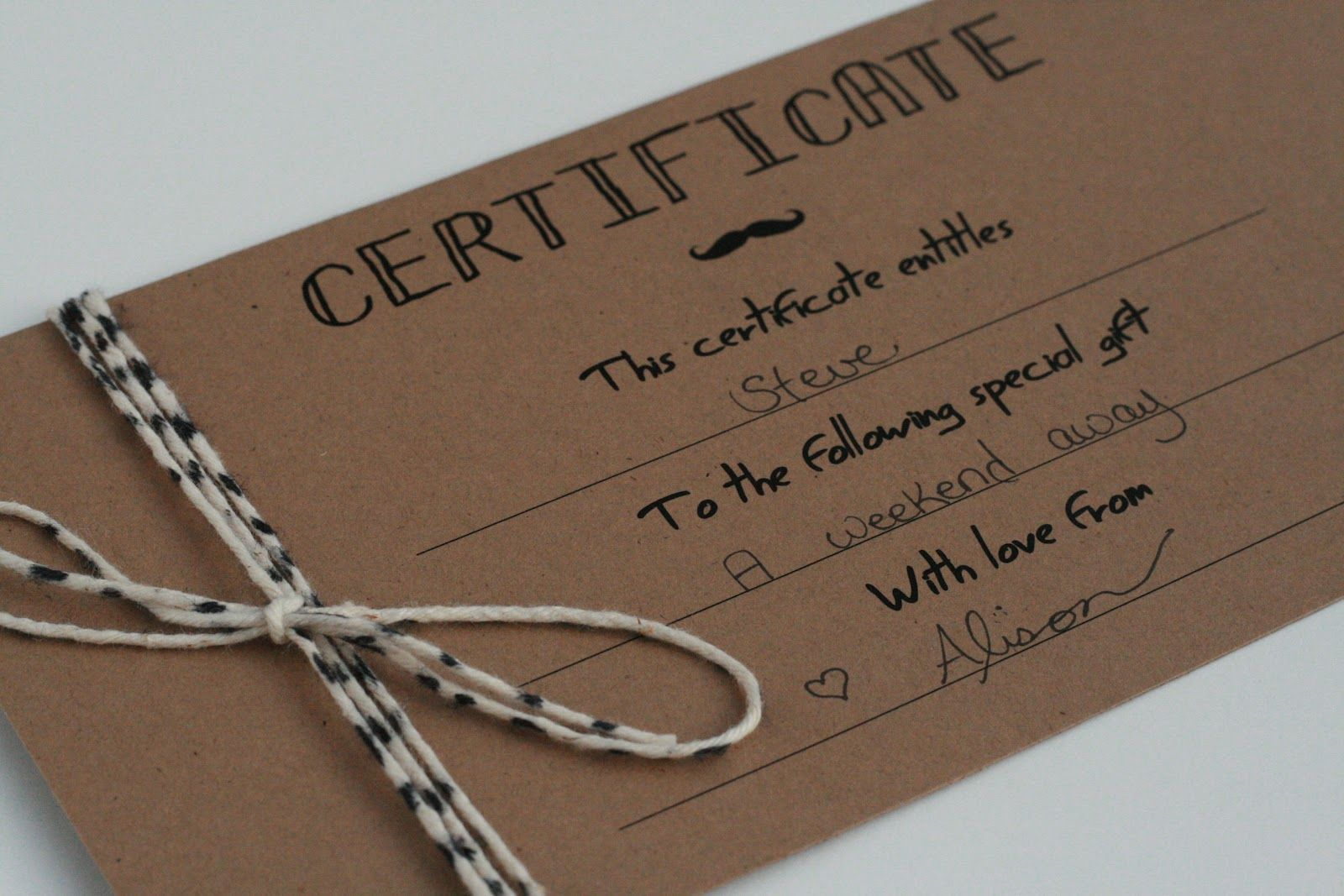 Image of homemade gift certificate.