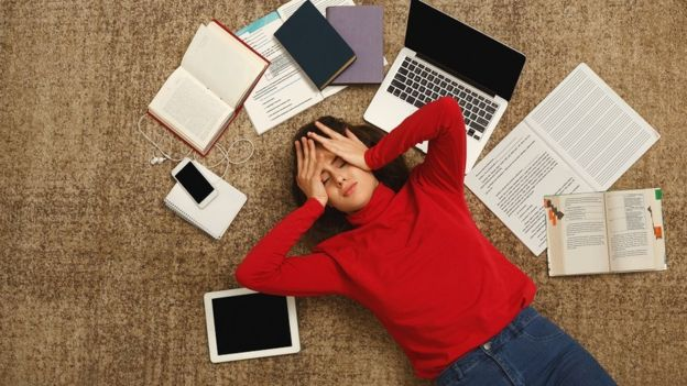 Студентка, учебники и компьютер