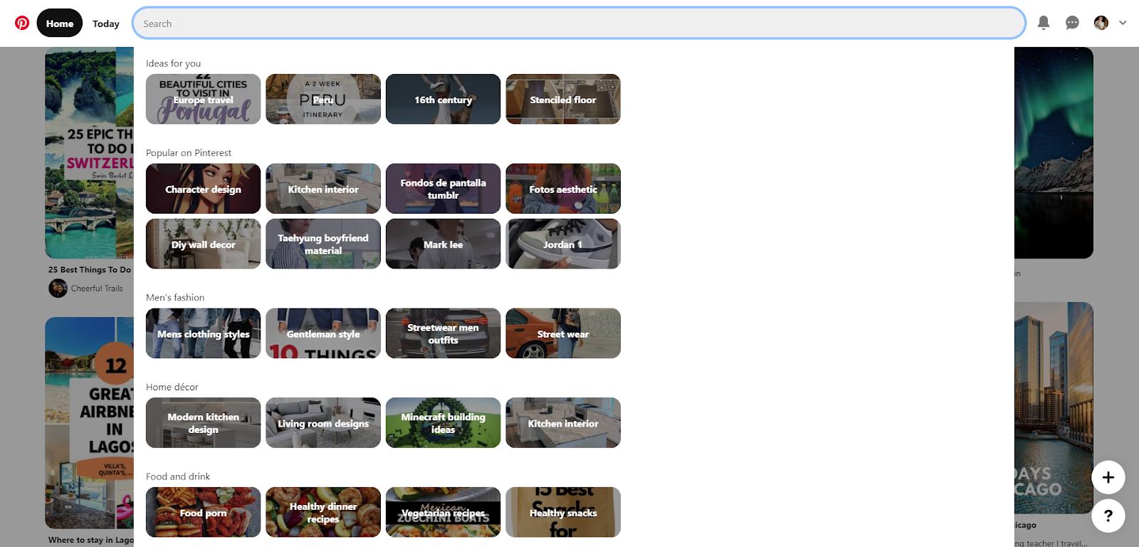Pinterest search