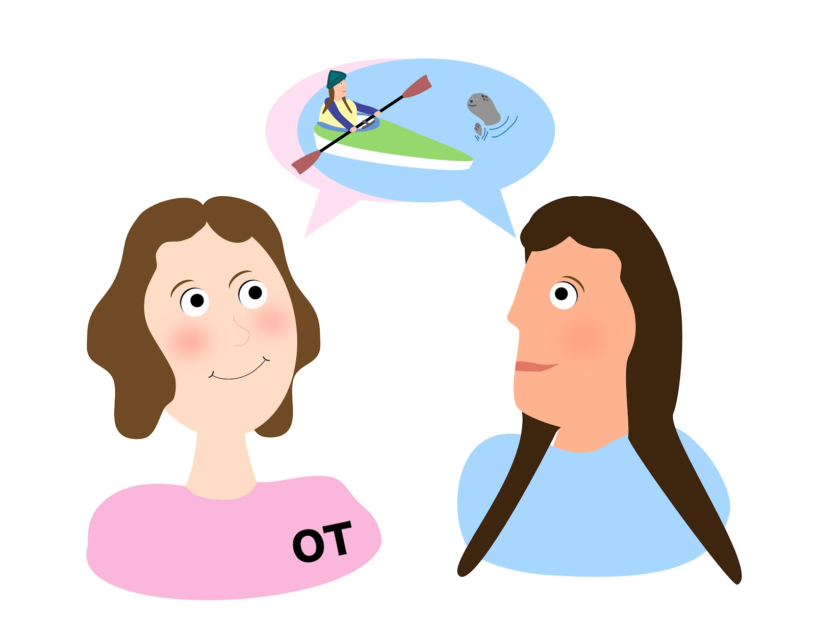 Occupational therapist and client discussing client's goal of kayaking. (kayaking illustrated in clients speech bubble). OT is wearing pink with OT on shirt, and client is wearing blue; their shirt colours match their speech bubbles.