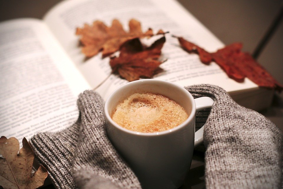 A cup of frothy coffee being held by hands with long sleeves, and reading a book with autumn leaves on it as ideas for making your home warm