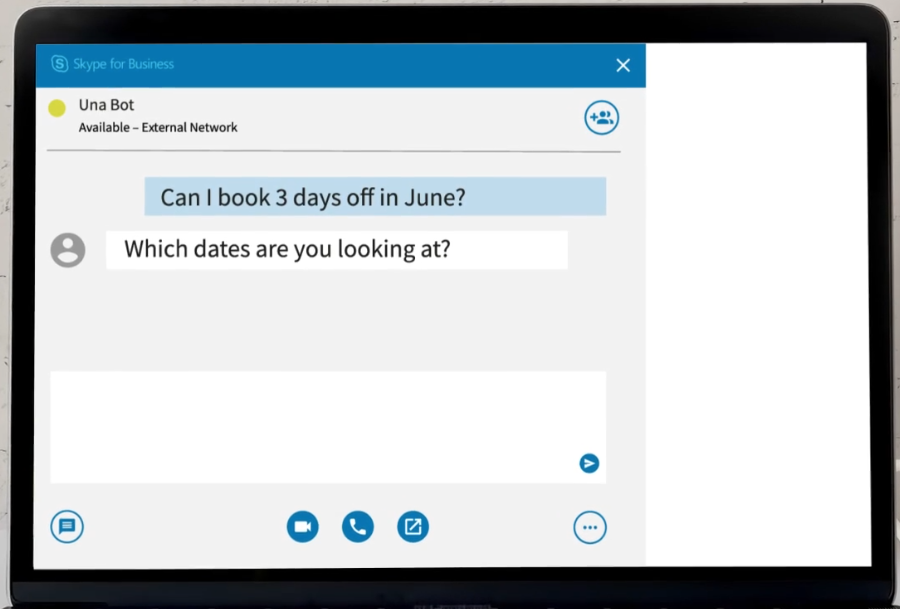 Screenshot of Unabot, deployed on Skype for Business