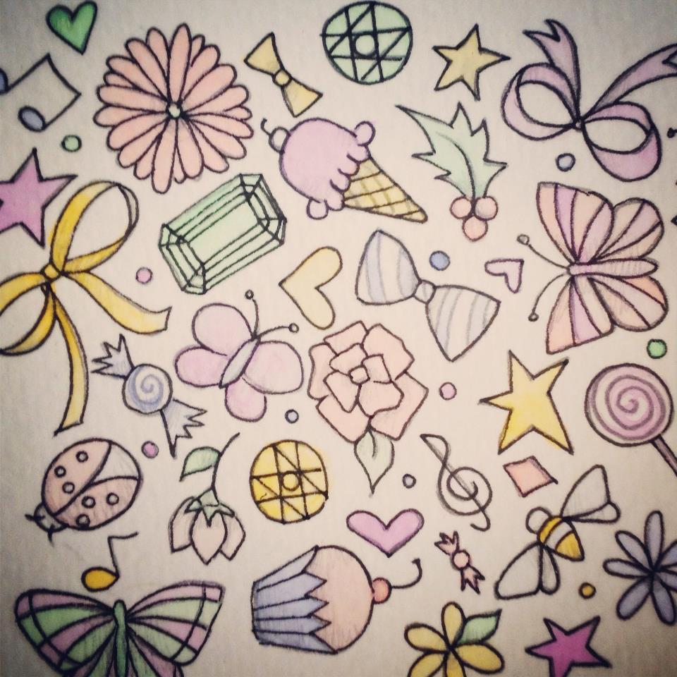 gems bows candy stars butterflies flowers treble pattern