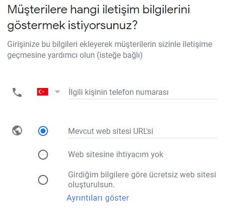 google benim işletmem telefon ve web sitesi ekleme