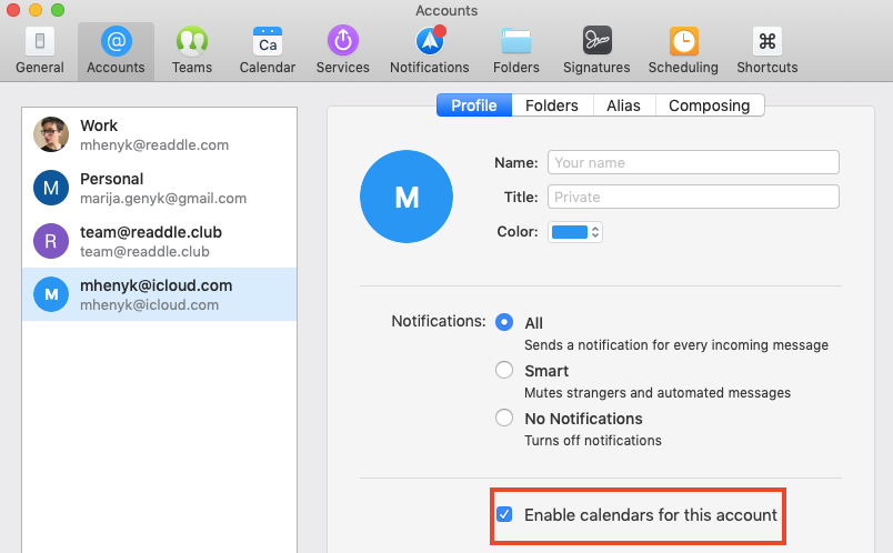 Add an iCloud Calendar to Spark - Readdle Knowledge Base
