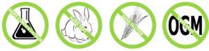 Des produits sans test sur les animaux, sans OGM...etc