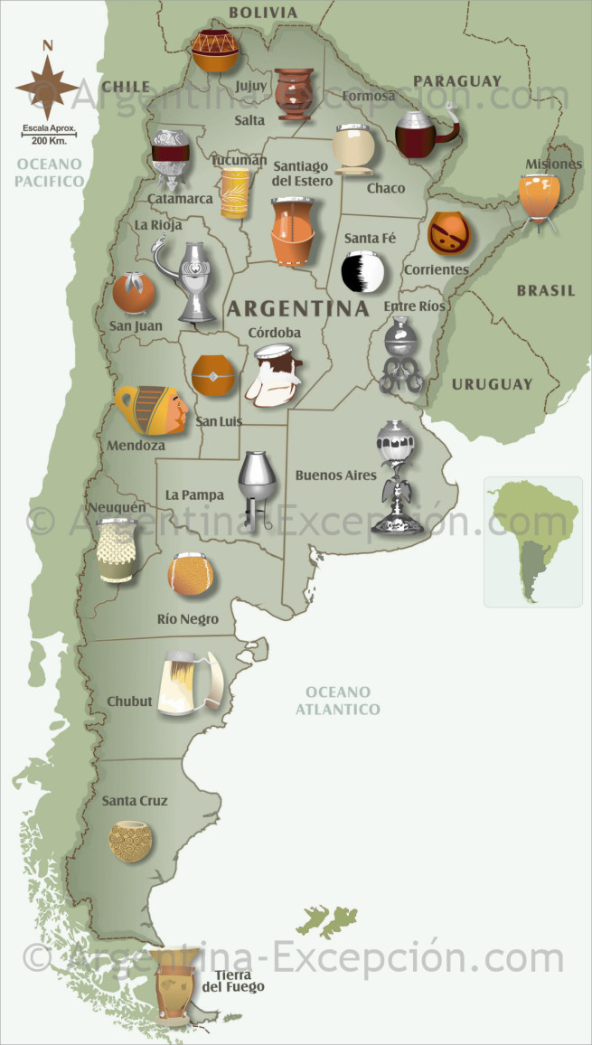Mates by regions of Argentina