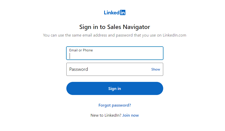 type in login credentials and press enter to open premium sales navigator account
