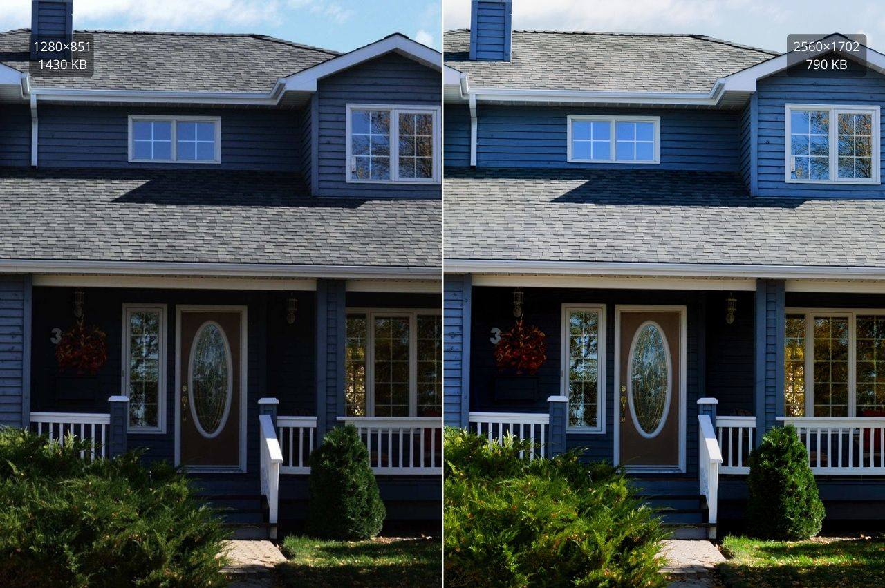 Applying compression, color correction, and upscaling on a real estate photo