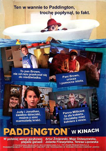 Tył ulotki filmu 'Paddington'