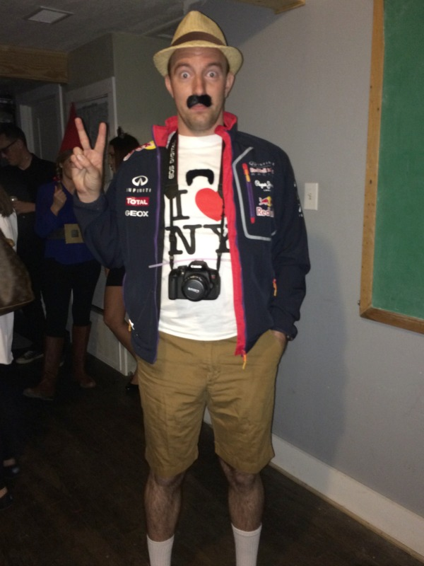 Guy in a tourist DIY Halloween costume