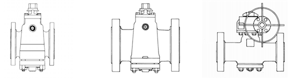 API 6D plug valve in three different angles