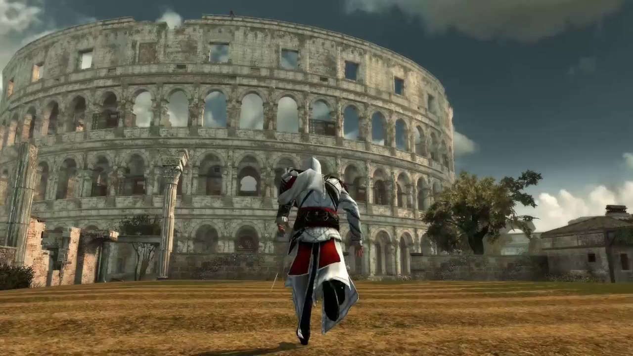 Character approaches the  Colosseum in the real-world video game location of Rome, in Assassin's Creed Brotherhood.