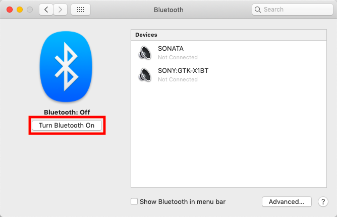 "the ""Turn Bluetooth on"" button on a Mac"