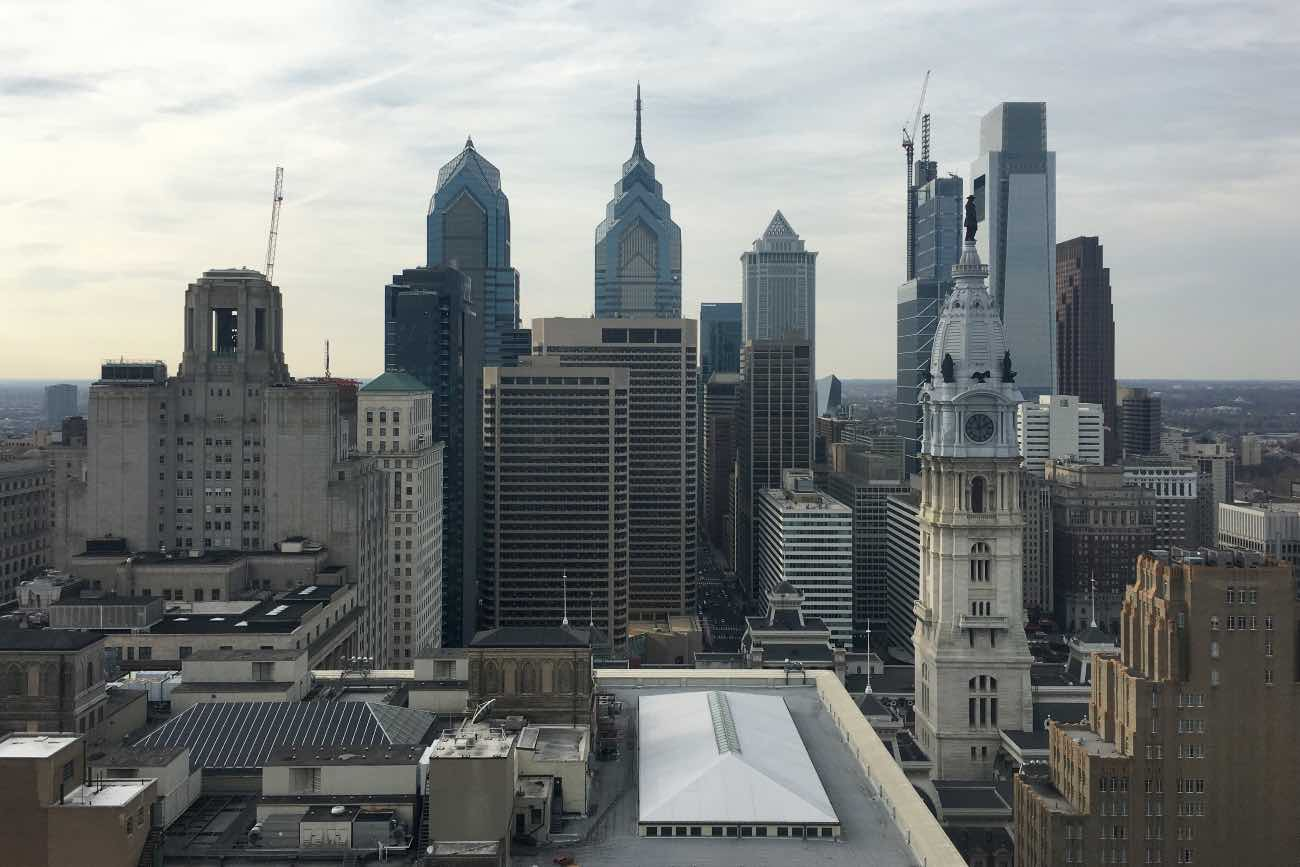 A view of Philadelphia city center is seen on December 2, 2017. Philadelphia is the largest city in Pennsylvania and the sixth-most populous city in the United States, with an estimated population of 1,567,872 and more than 6 million in metropolitan area, as of 2016. Philadelphia is the economic and cultural anchor of the Delaware Valley region, located along the lower Delaware and Schuylkill Rivers. / AFP PHOTO / Eric BARADAT (Photo credit should read ERIC BARADAT/AFP via Getty Images)